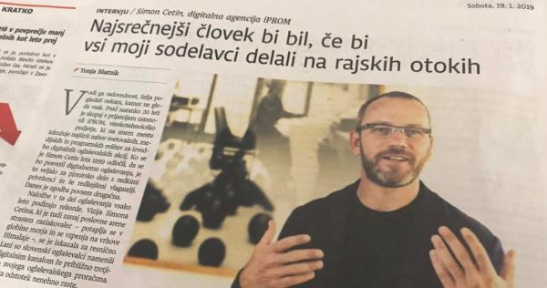 Simon Cetin v pogovoru za Dnevnik: Najsrečnejši človek bi bil, če bi vsi moji sodelavci delali na rajskih otokih - iPROM - Mnenja Strokovnjakov - Simon Cetin